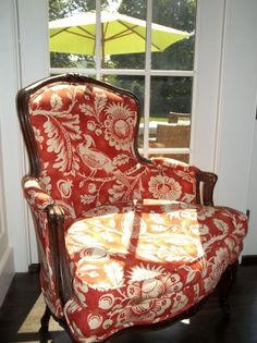 Bergere covered in Florence Broadhurst (ish?) fabric.