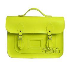 Bolsa Croisfelt Satchel Carteiro Pasta Feminina Amarela Fluo, 13'' Unissex #fluorescente #classica #moda