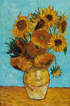 Van Gogh - Sunflowers This is my favorite piece by Vincent Van Gogh because he didn't paint the flowers to make them look beautiful, he painted them to show the wilting and discoloration of real flowers. There's a lot of symbolism there...