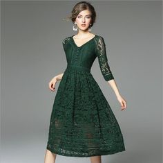 3 Colors 2017 Winter Dress Hollow Out High Quality Lace Dresses Middle Sleeve Vintage Party Dress  #Affiliate