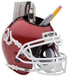 Oklahoma Sooners NCAA Football Schutt Mini Helmet Desk Caddy