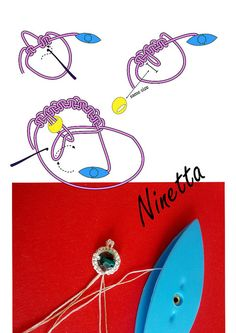 bead inside ring (one shuttle) Shuttle Tatting Patterns, Needle Tatting Patterns, Knitting Patterns, Crochet Patterns, Tatting Earrings, Tatting Jewelry, Tatting Lace, Needle Tatting Tutorial, Diy Recycling