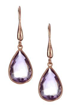 Candela 14K Rose Gold Plated Sterling Silver Amethyst Drop Earrings
