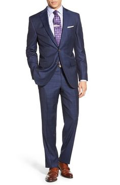 David Donahue Classic Fit Windowpane Wool Suit available at #Nordstrom