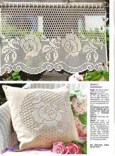Valance - filet crochet by antonia Filet Crochet, Crochet Chart, Thread Crochet, Crochet Stitches, Crochet Doily Patterns, Crochet Borders, Crochet Motif, Crochet Designs, Crochet Doilies