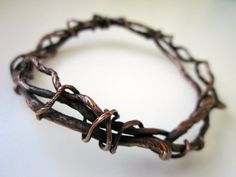 By The Throat - primitive pagan organic oxidized copper stacked bangle bracelet apocalyptic twisted root vine metalwork hammered soldered by LoveRoot