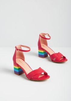 Come for the red color, stay for the rainbow stripes covering these bold block heels! A statement pair from our ModCloth namesake label, these showstopping sandals feature crisscrossing straps at the vamps, flirty peep toes, and silver-buckled ankle strap Peep Toe Heels, Ankle Strap Heels, Ankle Straps, Women's Heels, Heeled Sandals, Rainbow Heels, Modcloth Shoes, White Heels, Pretty Shoes