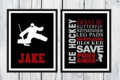 Two piece set of my popular Ice Hockey prints just for the GOALIE in your life. Great for a players room, or for their favorite coach! This can be