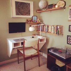 Our new office! Shelf Lamp, Ikea Shelves, Desk Shelves, Floating Desk, Ww2, Home Office, Corner Desk, New Homes, Display