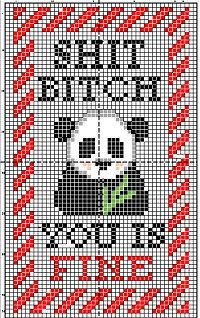 CROSS STITCH PATTERN Rude panda with candy by WonderlandStitchin