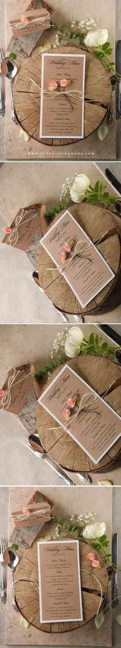Romantic Rustic Wedding Menu Card #weddingideas #romantic #woodlandwedding #fairytale #roses