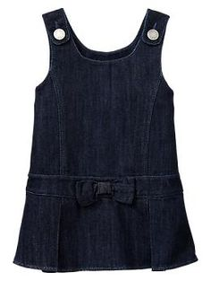 Love denim dresses for little girls in fall...pair with tights, boots, scarf, sweater, and a cute little bow or hat.