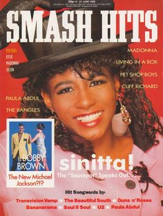 Sinitta appearing on the cover of Smash Hits on 14 June 1989
