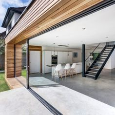 - Nice transition between timber and remainder of house - Concrete floors would be cold though. Couldn't use timber or carpet which would ruin effect of floating timber walls.