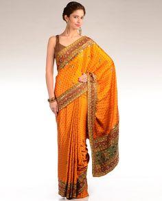 Flame Orange Bandhani Sari