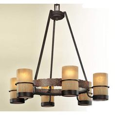 Bamboo Six Light Chandelier Troy Glass Shade Chandeliers Ceiling Lighting