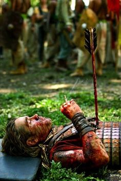 Colin Farrell between takes. You know, just smoking a fag with an arrow sticking out of his chest, covered in blood. Like ya do.