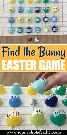 Super Fun Easter Egg Sight Words Activity to DIY: Find the Bunny! This super easy DIY Easter egg sight words activity for preschoolers makes word recognition FUN as they search under colorful Easter eggs to find the bunny! Word Games For Kids, Easter Activities For Kids, Easter Games, Spring Activities, Easter Crafts For Kids, Preschool Activities, Bunny Crafts, Easy Games For Kids, Educational Games For Kids