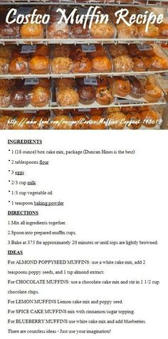 Costco Muffin Recipes...I love their chocolate chocolate chip muffins! Gotta try this
