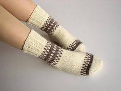 Organic undyed wool eco socks clothing Hand knitted women patterned Warm winter thick bulky home slipper socks Cozy rustic practical gifts Hand Knitting, Knitting Ideas, Patterned Socks, Hand Knitted Sweaters, White Colors, Slipper Socks, Practical Gifts, Wool Yarn, Delicate