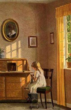 """Girl Knitting"", Karl Harald Alfred Broge (1870-1955), Danish   /   IAaC"