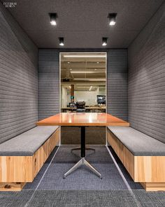 Over and Above: Studio O+A Designs HQ For Uber | Wool felt by Camira wrapping a meeting room. Intermix Table by First Office and Linen 2.0 Carpet Tile by Milliken. #design #interiordesign #interiordesignmagazine @camirafabrics @millikencarpet
