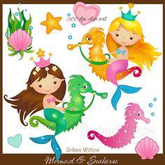 INSTANT DOWNLOAD - Mermaid & Seahorse, digital clip art set.