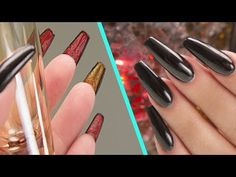 Louboutin Inspired Acrylic Nails - Step by Step Tutorial - Luxxe Cosmetics Square Acrylic Nails, Red Acrylic Nails, Acrylic Nail Shapes, Red Bottom Nails, Louboutin Nail Polish, Different Nail Shapes, Cotton Candy Nails, Sculptured Nails, Bling Nails