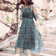Floral Print Silk Midi Dress