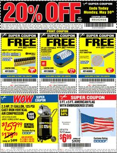 Pinned May 30th: 20% off a single item & more today at #HarborFreight Tools #TheCouponsApp