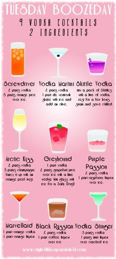 9 Vodka Cocktail 2 ingredients http://ziggacakedup.com/product-category/clothing/costumes/