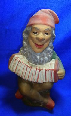 Vintage German Art Pottery Garden Yard Outdoor Gnome / Dwarf with Accordeon #^