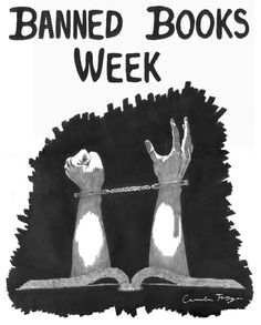 """This poster — created by student artist Camden Forgia from Arizona State University — is available for download on the Amnesty International USA website, as """"During Banned Books Week, Amnesty International directs attention to the plight of individuals who are persecuted because of the writings that they produce, circulate or read."""" (quote from the Amnesty website)"""
