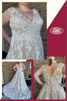 Plus Size A Line Net & Lace Wedding Dress with V-Neckline | Callie #ImAtEO #elegantoccasions #wausauwisconsin #bridal #weddingdress #weddingdresses #weddinggown #weddinggowns #bridalgown #bridalgowns #netweddingdress #laceweddingdress #alineweddingdress #vneckweddingdress #plussizeweddingdress #plussizebride #EObride #wisconsinbride #bridetobe #yestothedress #sayyestothedress #engaged #misstomrs #wisconsinwedding V Neck Wedding Dress, Wedding Gowns, Lace Wedding, Store Layout, Bridal Suite, Yes To The Dress, Plus Size Wedding, Personal Stylist, Elegant Dresses