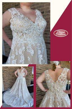 Plus Size A Line Net & Lace Wedding Dress with V-Neckline | Callie #ImAtEO #elegantoccasions #wausauwisconsin #bridal #weddingdress #weddingdresses #weddinggown #weddinggowns #bridalgown #bridalgowns #netweddingdress #laceweddingdress #alineweddingdress #vneckweddingdress #plussizeweddingdress #plussizebride #EObride #wisconsinbride #bridetobe #yestothedress #sayyestothedress #engaged #misstomrs #wisconsinwedding V Neck Wedding Dress, Wedding Gowns, Lace Wedding, Elegant Dresses, Formal Dresses, Bridal Suite, Yes To The Dress, Plus Size Wedding, Bridal Dresses