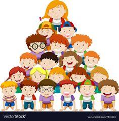 Human Pyramid, Adobe Illustrator, Illustration, Vector Free, Birthdays, Disney Characters, Children, Pdf, Vector Illustrations