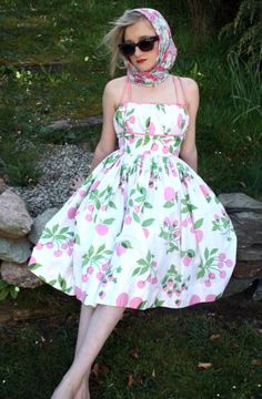 1950s Vintage Horrockses Sundress Ivory & Green with Pink Cherries