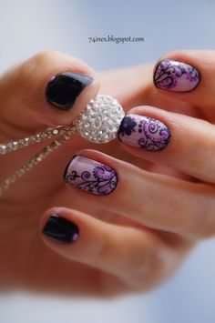 Nails- pretty! I'm a big fan of black and purple . . this is so feminine! #nailart #naildesign