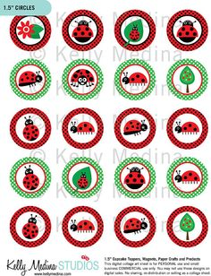 Ladybug - Clip Art 1.5 inch Circle Digital Collage Sheet - Commercial use for Cupcake Toppers, Magnets, Paper Crafts and Products by Kellymedinastudios