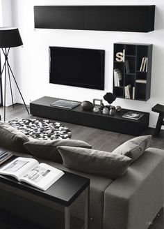 Modern living room interior, set exclusive with decoration ideas!:separator:Modern living room interior, set exclusive with decoration ideas! Manly Living Room, Living Room White, Beautiful Living Rooms, Living Room Modern, Living Room Interior, Living Room Designs, Cozy Living, Simple Living, Black White And Grey Living Room