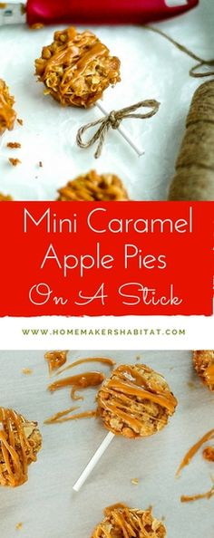 These adorable mini apple pies are drizzled with homemade caramel and served on a stick. Fall Dessert Recipes, Fall Desserts, Holiday Recipes, Apple Desserts, Mini Apple, Apple Pies, Mini Caramel Apples, Good Food, Yummy Food