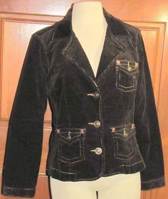 BUTTERFLY STRETCH fitted dark brown corduroy jacket sz L (TC104B5G) #Butterfly #BasicJacket
