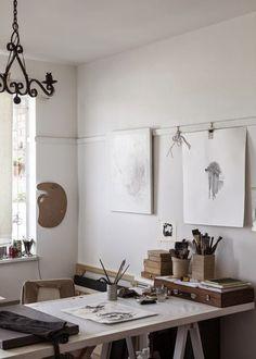 Atelier Arbeitszimmer – Creative Home Office Design Workspace Inspiration, Decoration Inspiration, Interior Inspiration, Sunday Inspiration, Design Inspiration, Inspiration Boards, Interior Ideas, Creative Arts Studio, Creative Area