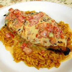 Queso Smothered Chicken. We liked the queso idea, but the orzo was gross. Next time, we'll just do Mexican rice or skip that part altogether and serve with veggies.