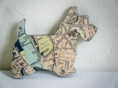 Recycled Map Wooden Dog Brooch