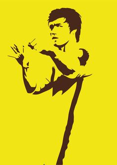 A drawing of the greatest martial artist ever to have lived - Bruce Lee. I drew in the black bits by hand, then filled in the white bits with yellow in photoshop. Yes, the black and yellow IS a ref. Bruce Lee Art, Bruce Lee Martial Arts, Bruce Lee Photos, Bruce Lee Poster, Martial Arts Movies, Martial Artists, Kung Fu, Jeet Kune Do, Brandon Lee