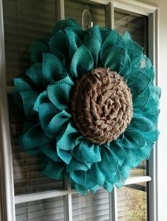 Check out this item in my Etsy shop https://www.etsy.com/listing/286244649/teal-burlap-flower-wreath