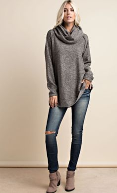 Oversized Slouchy Pullover - Charcoal – Rebecca's of Clinton