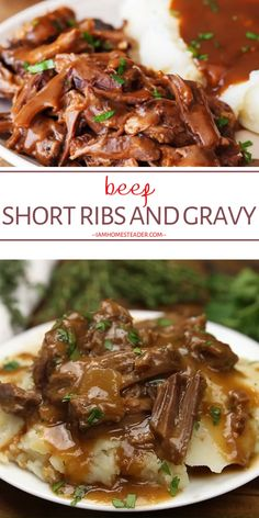 Scrumptious, melt-in-your-mouth Beef Short Ribs & Gravy perfect as a holiday main dish recipe! This Christmas dinner par Beef Recipes For Dinner, Rib Recipes, Cooking Recipes, Christmas Dinner Recipes Videos, Ideas For Christmas Dinner, Dinner Ideas With Beef, Healthy Meat Recipes, Skillet Recipes, Cooking Tools