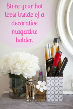 Save space and decorate your vanity at the same time. [ PropFunds.com ] #organization #funds #saving
